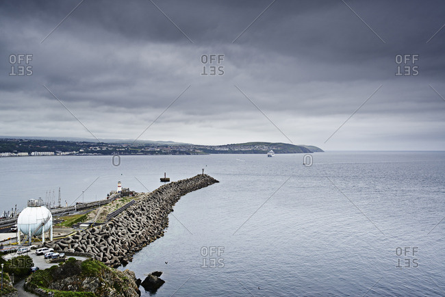 Jetty and coastline, Isle of Man, UK