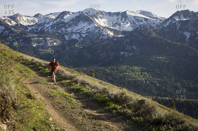 Male trail runner on the Wasatch Crest Trail, Banff National Park, Alberta, Canada