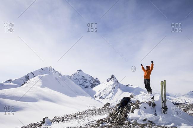 Male skier on Parker Ridge , Banff National Park, Alberta, Canada