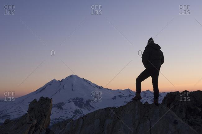 Male climber on top of the Sulfide Glacier on Mount Shuksan, North Cascades National Park, Washington, USA