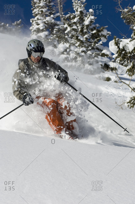 Man skiing at Solitude Mountain Resort, Utah, USA