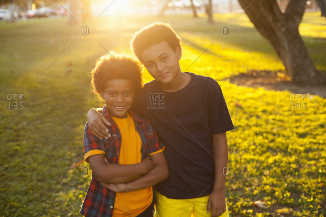 Portrait of two brothers in park