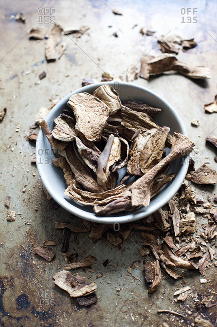 Dried mushrooms in a bowl