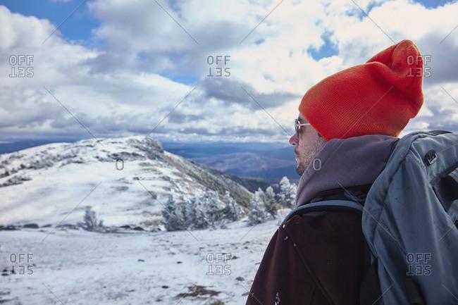 Hiker enjoying view, Yellowstone National Park, Wyoming, USA