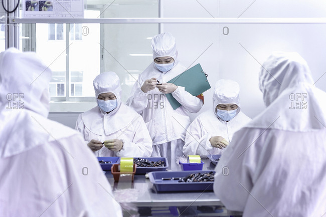 Workers in electronic cigarette factory