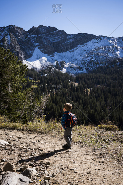Toddler hiking, Catherine's Pass Trail, Albion Basin, Alta, Utah, USA