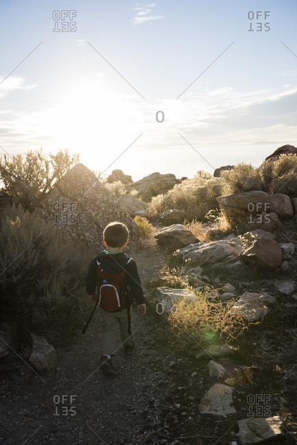 Toddler hiking, Buffalo Point Trail, Antelope Island State Park, Utah, USA