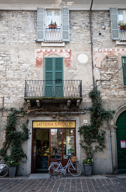 Lake Como, Italy - February 18, 2017: Front of a shop