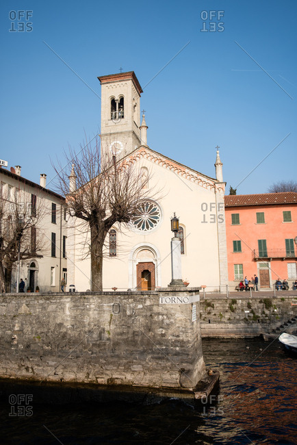 Lake Como, Italy - February 18, 2017: A church by the lake