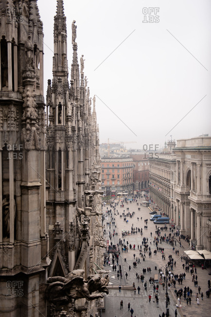 Milan, Italy - February 19, 2017: View from the Duomo di Milano