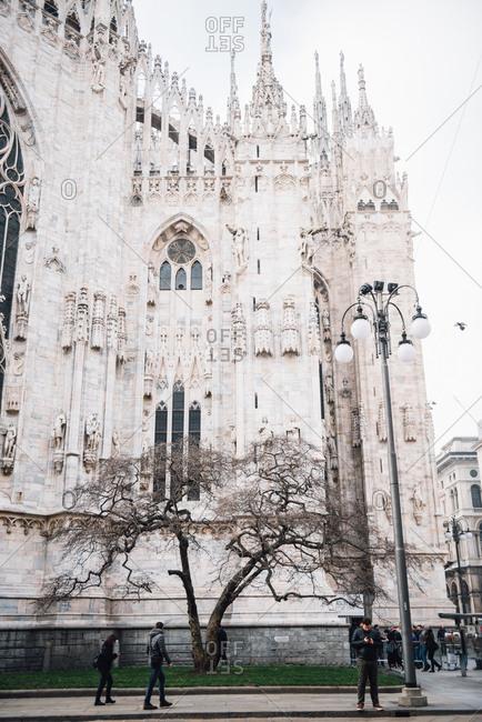 Milan, Italy - February 19, 2017: People outside Duomo di Milano