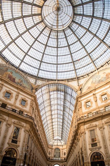 Milan, Italy - February 19, 2017: Galleria Vittoria Emanuele II ceiling
