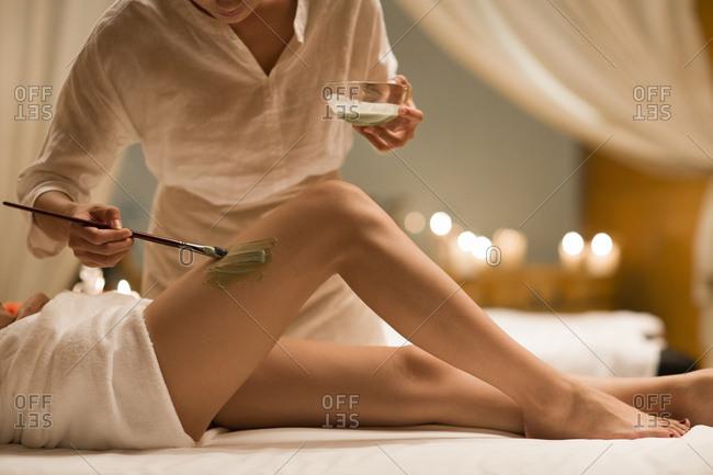 Beautiful young woman having skin treatment