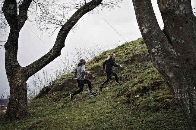 Full length of multi-ethnic couple jogging on hill in forest