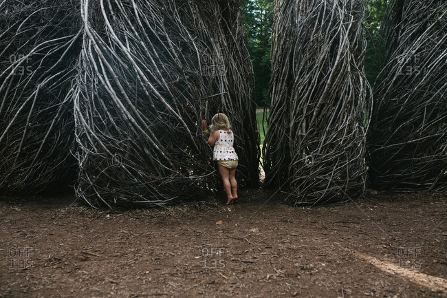 Toddler looking in stick structures