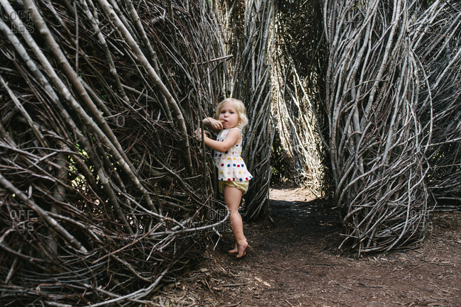 Toddler among branch structures