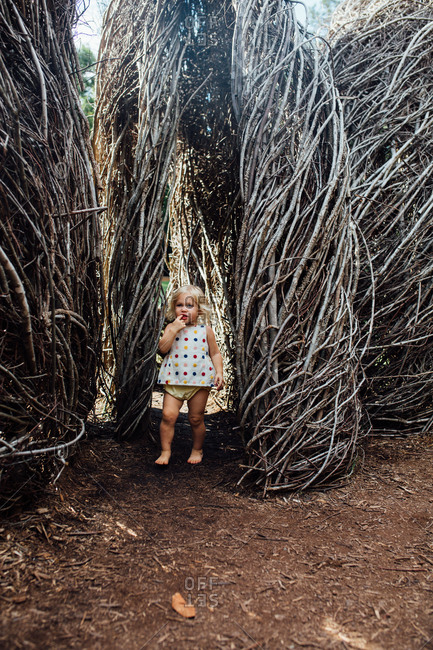 Toddler standing by branch structures
