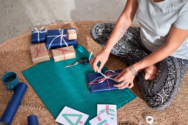 Christmas presents being wrapped