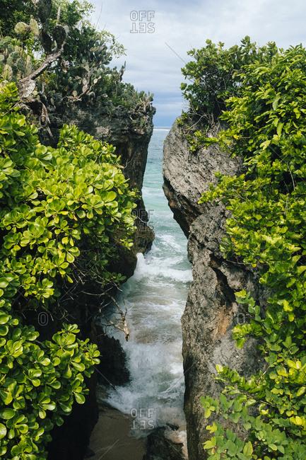 Cliffs at Geger Beach in Bali, Indonesia.