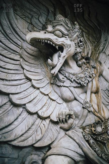 Stone carvings of Garuda at GWK Cultural Park in Bali, Indonesia.