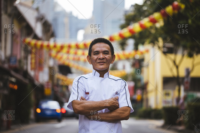 2/15/17: A portrait of Chan Hong Meng, the man behind the world's first Michelin-starred hawker stall, in Chinatown, Singapore.