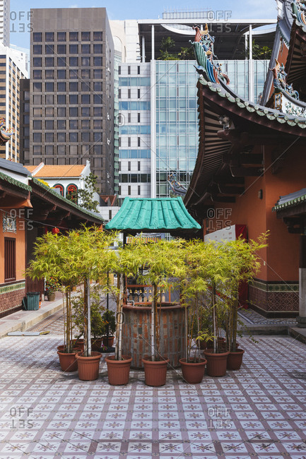 2/16/17: The interior courtyard at Thian Hock Keng Temple in Singapore.
