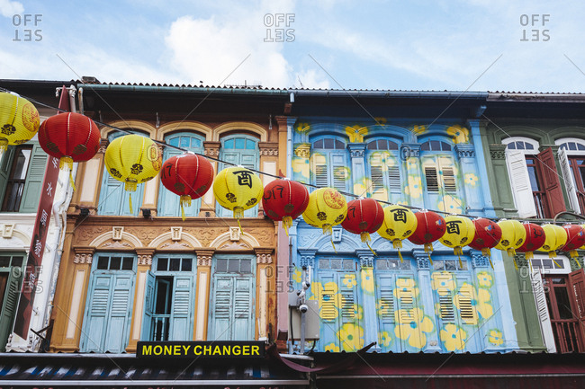 2/15/17: The colorful facades of shop houses in Chinatown, Singapore.