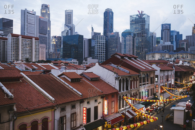 2/15/17: Old shop houses of Chinatown and the modern skyscrapers of Singapore at dusk.