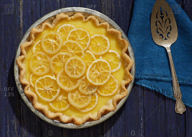 Overhead view of a lemon pie
