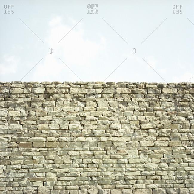 Neatly stacked stone wall