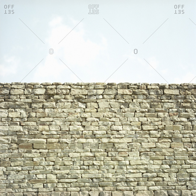 Neatly stacked stone wall