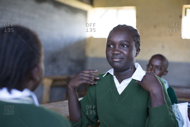 Isiolo, Samburu, Kenya - April 26, 2017: Hearing impaired girl, learning sign language at the Isiolo School for the deaf
