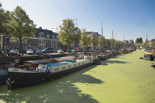 Groningen, Holland, Netherlands - June 28, 2017: Green canal in Groningen, Netherlands