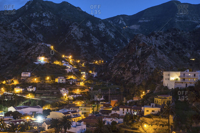 Village on La Gomera at the blue hour