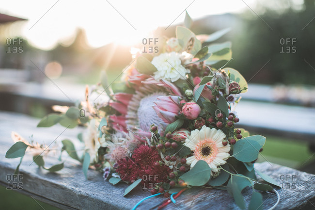 Bridal bouquet at alternative wedding, close up