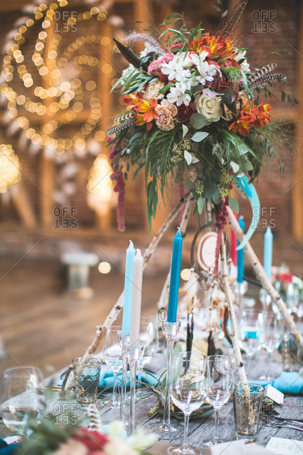 Wedding celebration in a barn, Indian wedding, table decoration