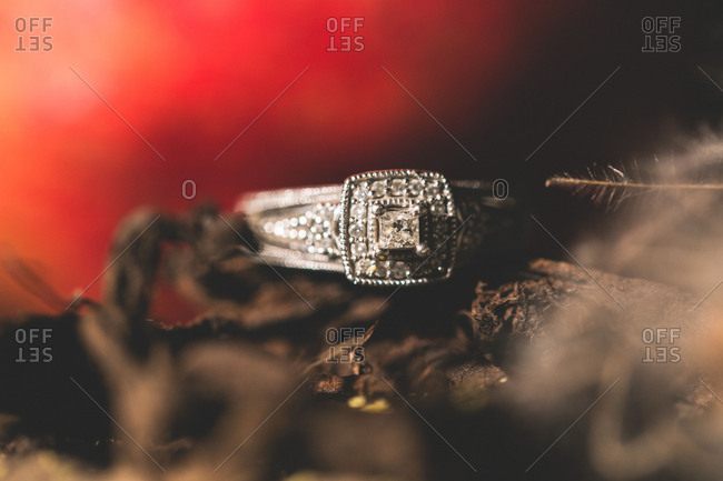 Jewelry, silver ring, close up