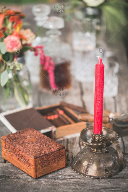 Decoration with Candle at Indian wedding, close up