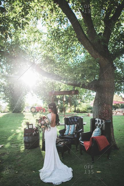 Alternative wedding, bride with spiritual wedding outside