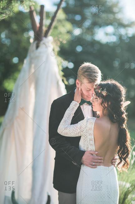 Alternate bridal couple outside