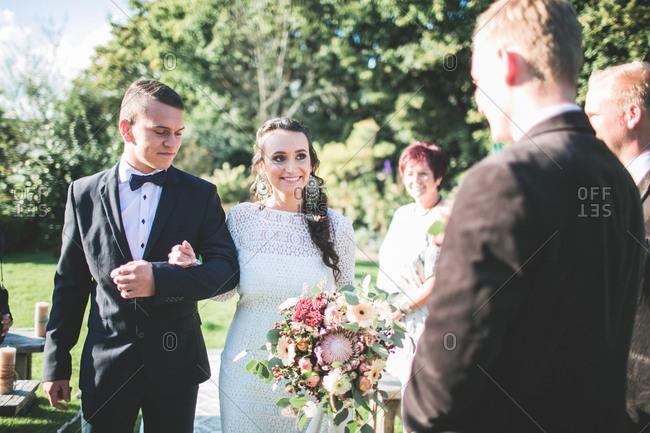 Alternative wedding, bride before wedding outside