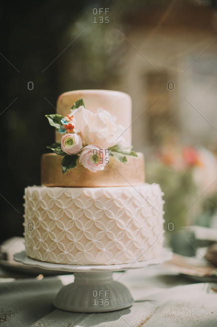 Wedding cake at alternative wedding celebration, close up
