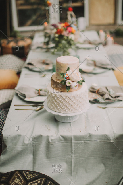 Festive laid table at alternative wedding celebration