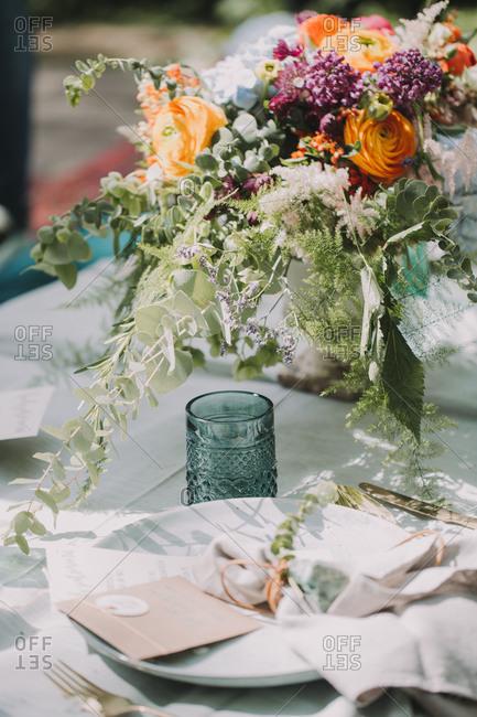 Festive laid table at wedding celebration, close up