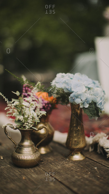 Floral decoration at alternative wedding celebration, close up