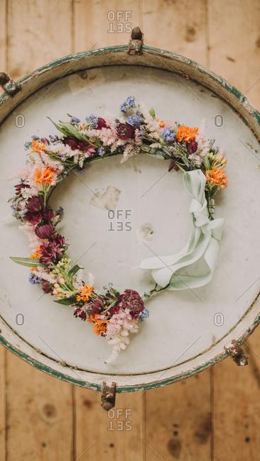 Alternative wedding, floral wreath of the bride
