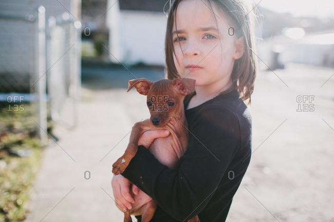 Little girl hugging a min pin puppy