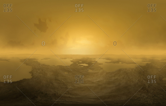 Artwork of lakes on Titan