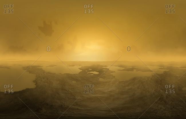 Artwork of lakes on Titan