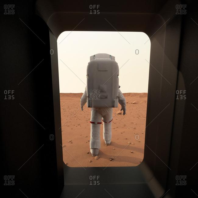 Astronaut walking on planet, illustration